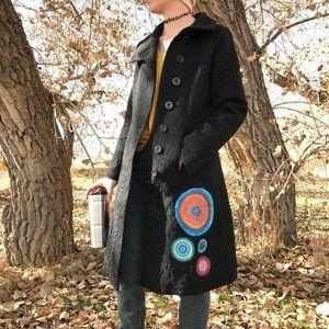 Desigual   Black Embroider Trench Coat